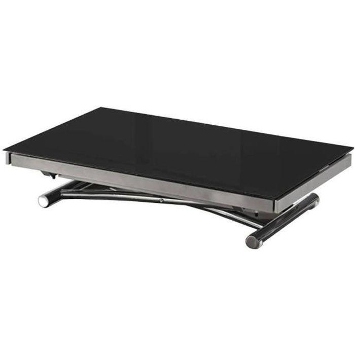 Table basse JUMP extensible relevable en verre noir noir verre trempé Inside75