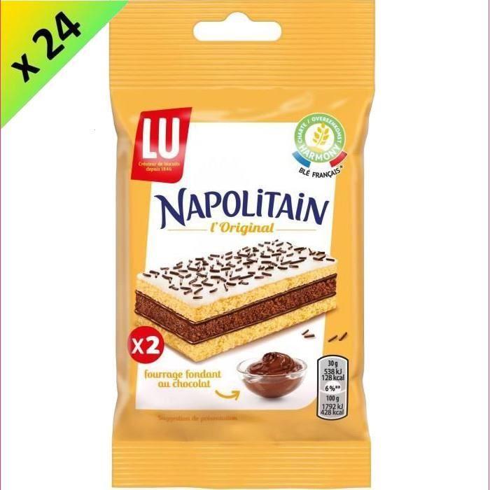 Napolitain LU - Gâteau moelleux au chocolat - Format poche - Carton de 24 sachets de 2 gâteaux