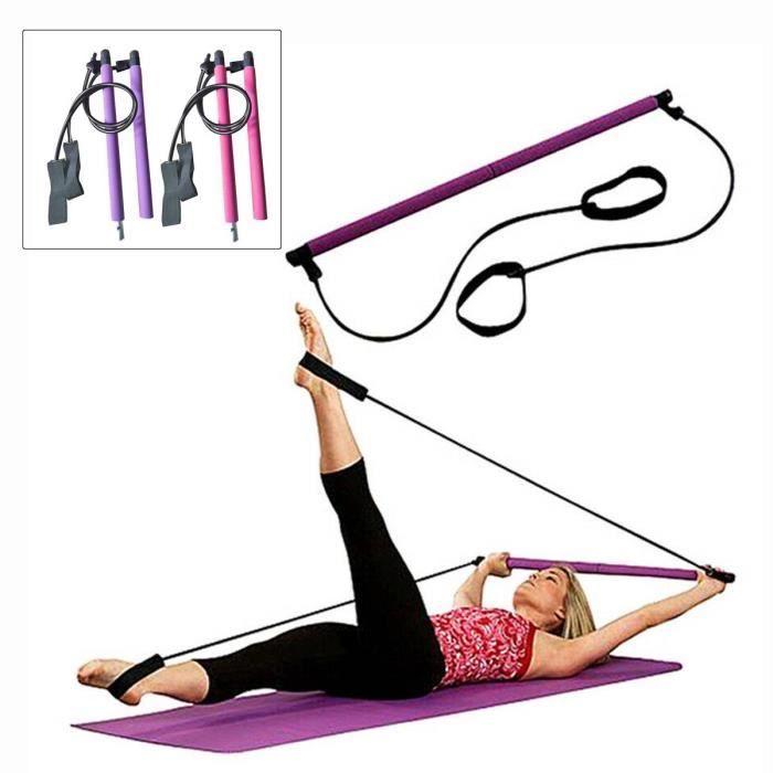 Kit de barre de Pilates portable avec bande de résistance Exercice de yoga Barre de Pilates avec boucle -Violet