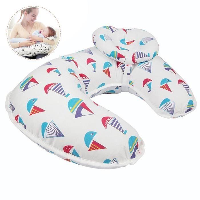 MOGOI Coussin d'allaitement multifonction pour bébé, Voilier rouge, coton, 56 * 37cm
