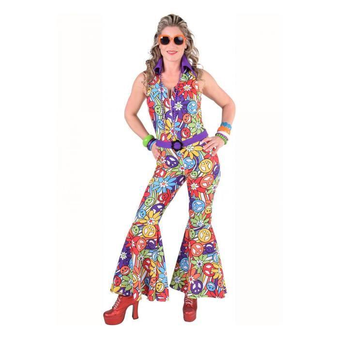 Déguisement Combinaison Femme Hippie Smile Violette Luxe