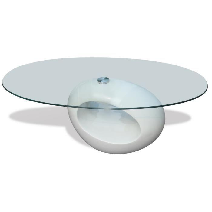 Table Basse Ronde En Verre Avec Pied Blanc Laqué