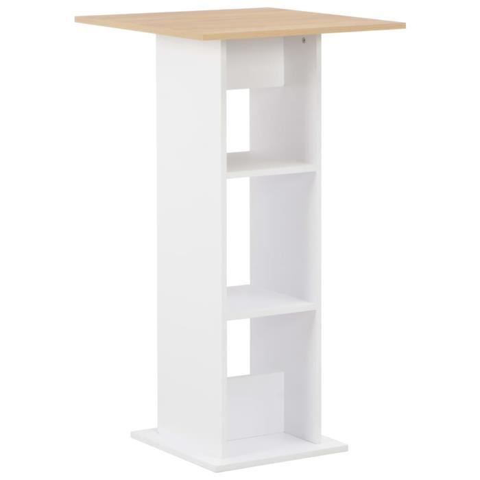 Table de bar Table haute Blanc 60x60x110 cm