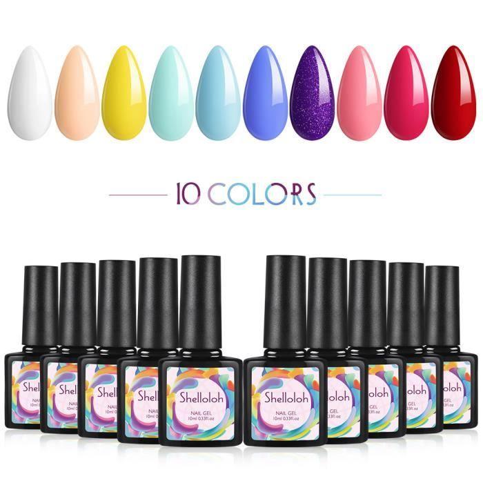 Shelloloh Kit Manucure Set de Gel UV Ongle 10pcs Vernis Semi Permanent Nail Art Gel Polish Soak Off Vernis à Ongle