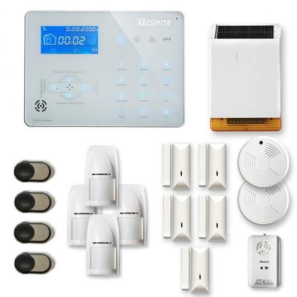 Alarme maison sans fil ICE-B 4 à 5 pièces mouvement + intrusion + détecteur de fumée + gaz + sirène extérieure solaire - Compatible
