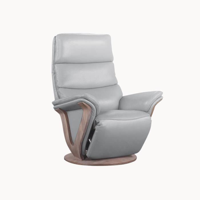 Fauteuil de Relaxation électrique cuir Gris clair - FRUITY - L 81 x l 89 x H 113