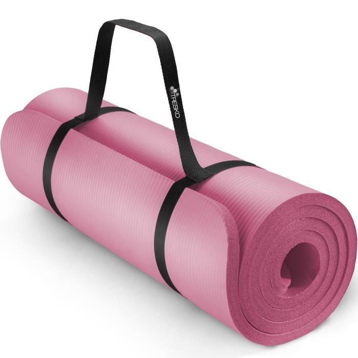 TRESKO Tapis d'exercice fitness yoga pilates gym, en Mousse NBR (185 x 60 x 1,0cm) Rose