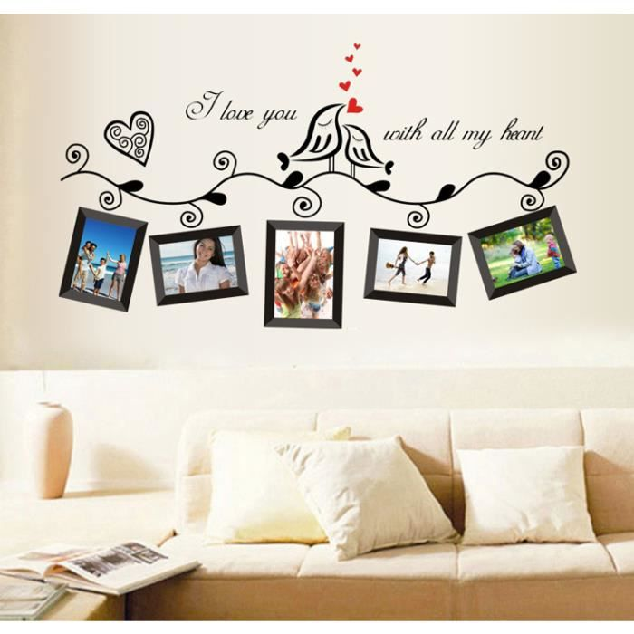 oiseaux d 39 amour cadre photo stickers muraux amovibles d coration murale noir achat vente. Black Bedroom Furniture Sets. Home Design Ideas