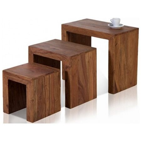 set de 3 tables gigognes en bois massif madagascar achat. Black Bedroom Furniture Sets. Home Design Ideas