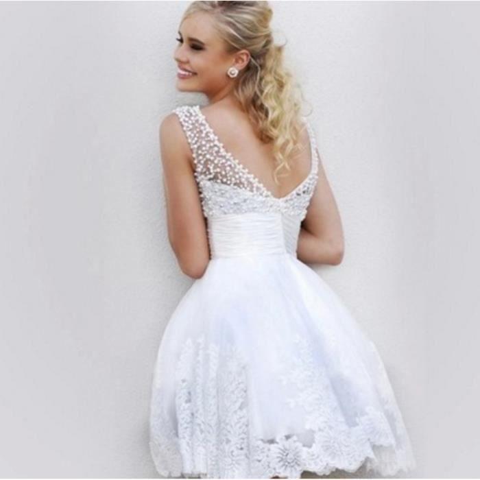 OFELI® Robe de mariée en dentelle courte