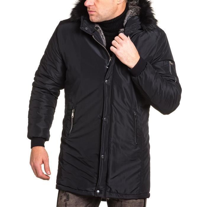 BLOUSON Blouson long noir zippé avec fourrure