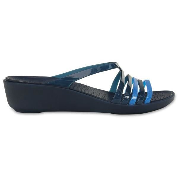 fc8f2db128be Crocs Isabella Mini Wedge Sandales en Bleu Marine 202464 463  UK W7 US W9
