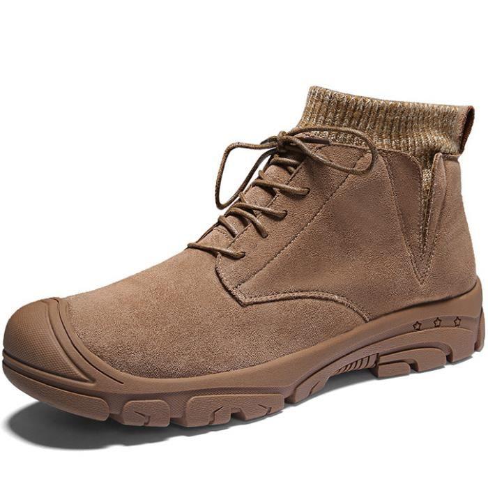 Bottes Hiver en Nubuck /à Lacets Fourr/ées Bottines de Neige Imperm/éable Oxfords Derbys Fourrure Boots Chukka Noir Marron Camfosy Chaussure de Ville Hiver Hommes