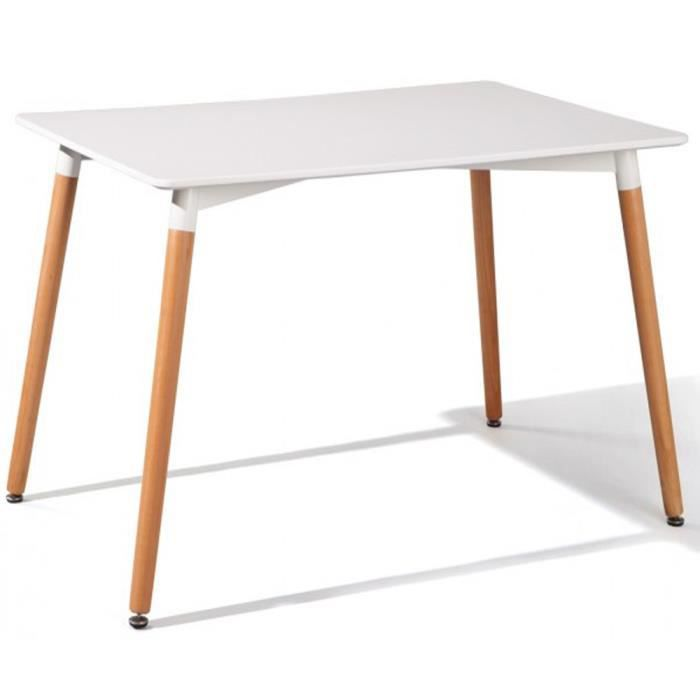 Table manger coloris blanc et h tre dim l 120 x h 80 x p 73 5 cm acha - Table and co vente en ligne ...