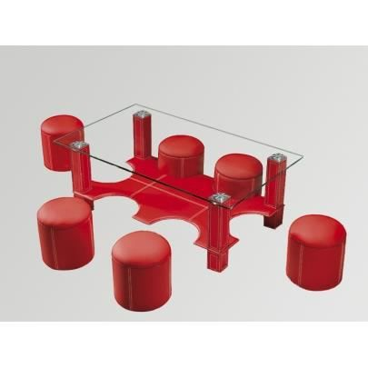 Table basse 6 poufs hula hoop rouge achat vente for Table basse 6 poufs
