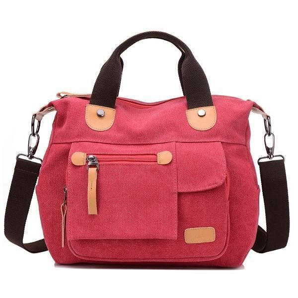 SBBKO655Women Toile Casual Grande capacité fonctionnelle Multi Pocket Handbag Shoulder Bag Crossbody Bag Rouge Vineux