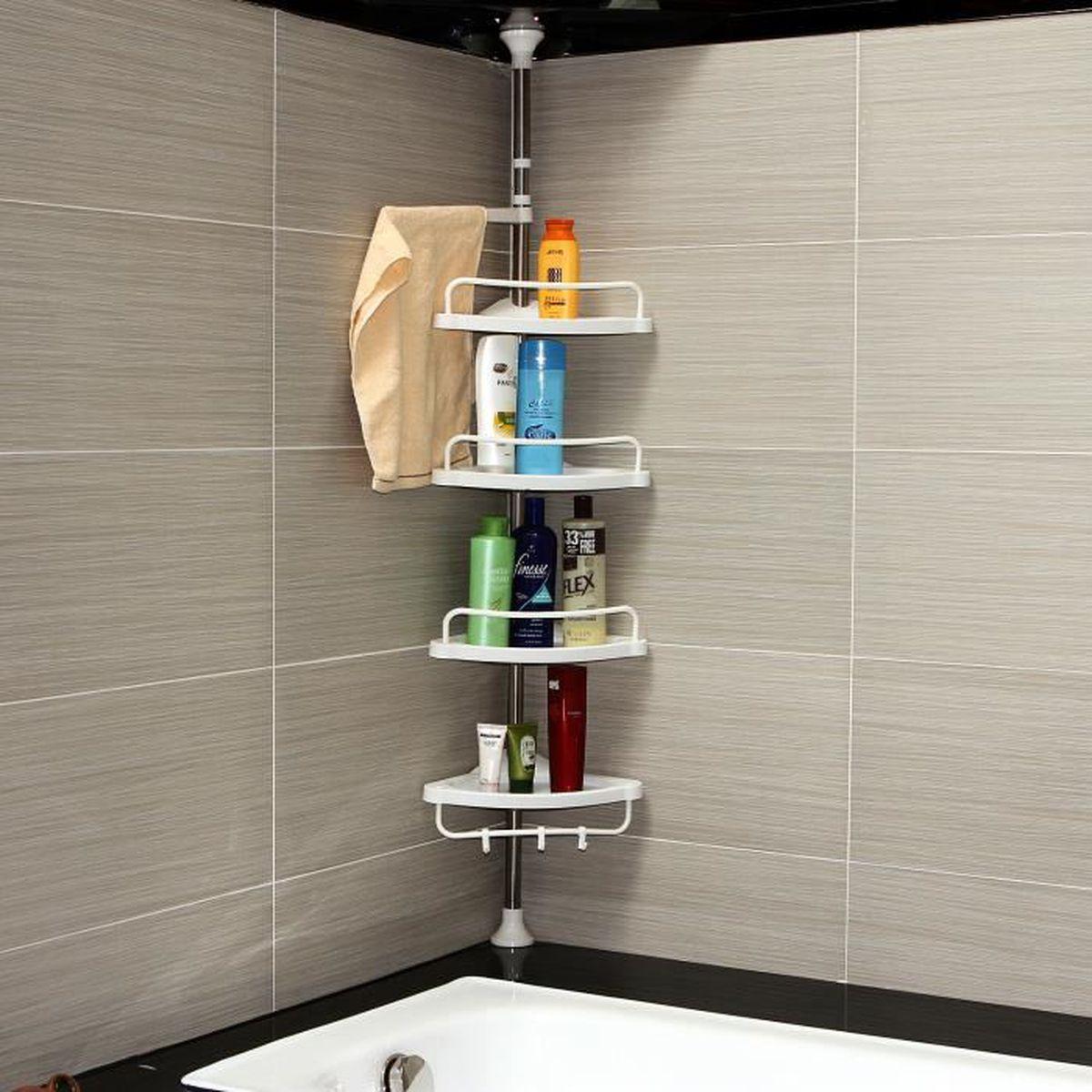 Tablette Salle De Bain 80 Cm kouan etagère d'angle télescopique salle de bains 120-300 cm