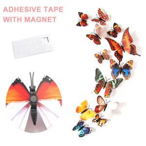 STICKERS DE NOËL 12Pcs 3D Papillon Stickers Muraux DIY Réfrigérateu