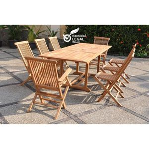 Table de jardin en teck massif ovale achat vente table for Chaise en teck massif