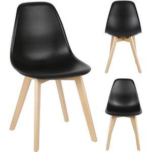 CHAISE 4 Chaise Lorenzo Design Scandinave Noir - Salle à