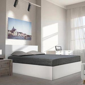 STRUCTURE DE LIT Lit coffre MADRID 160X200 + 1 sommier / Blanc