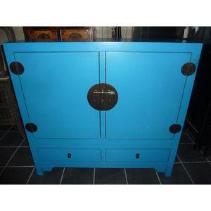 ARMOIRE DE CHAMBRE Armoire basse turquoise 2 portes 2 tiroirs