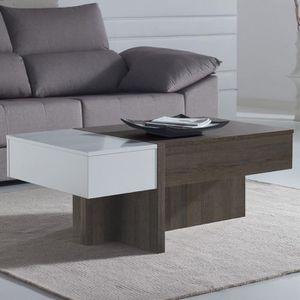 TABLE BASSE Table salon modulable moderne couleur chêne et bla
