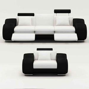CANAPÉ - SOFA - DIVAN Ensemble cuir relax OSLO 3+1 places blanc et noir