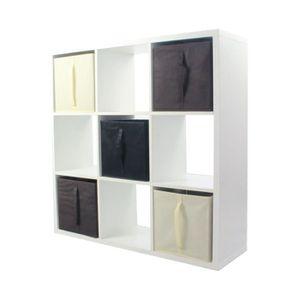 MEUBLE ÉTAGÈRE COMPO Meuble De Rangement 9 Cases + 5 Cubes Chocol