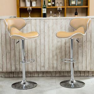 TABOURET DE BAR LOT DE 2 TABOURETS DE BAR - PU - TAUPE