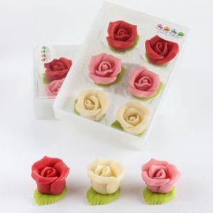 SUCRE - FAUX SUCRE 6 roses en pâte d amandes