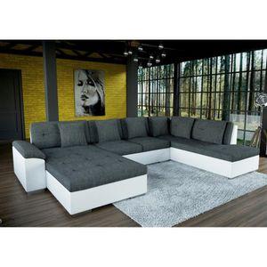 CANAPÉ - SOFA - DIVAN Grand canapé d'angle en U SMILE gris et blanc