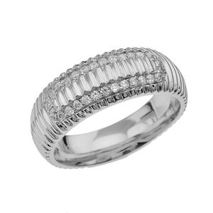 ALLIANCE - SOLITAIRE Bague Homme- Alliance Argent Fin 925-1000 Blanc To