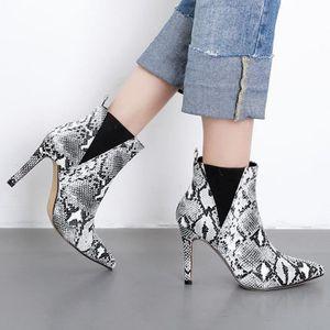 BOTTE Femmes Serpentine Bottines Chaussures Pointu de St