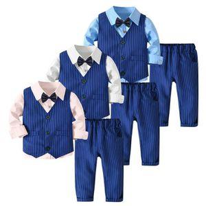 Ensemble de vêtements 3PC Tout-petit bébé garçon Bowtie Gentleman Gilet