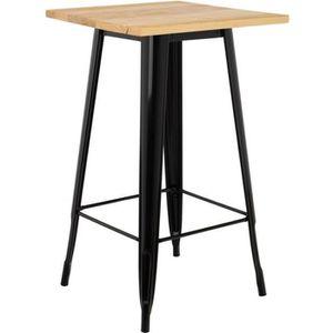 MANGE-DEBOUT Table Haute LIX en Bois Noir Bois Naturel