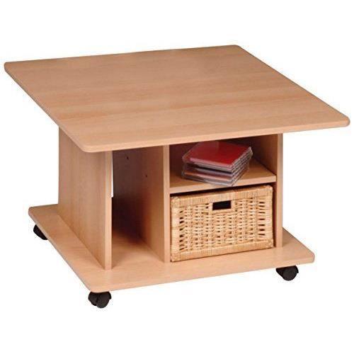 Alfa-Tische M474 Bono Table basse en bois de hêtre et à roulettes Panier tiroir en osier inclus 70 x 70cm…