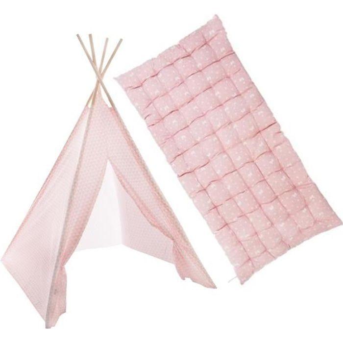 Tipi enfant avec tapis, tente rose fille 160cm avec tapis de sol 60x120cm