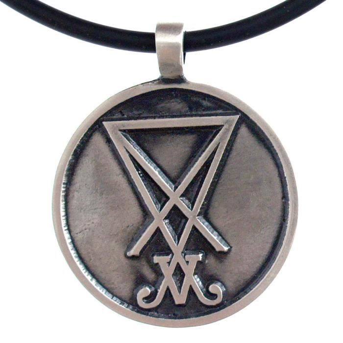 Chaine De Cou Vendue Seule La Sigil des femmes de Lucifer Eglise de Sceau luciférienne de Satan étain collier pendentif NCI5L
