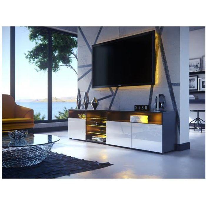 MEUBLE TV MASSIMO 200 cm Noir Mat et portes Blanc Laquées LED RGB