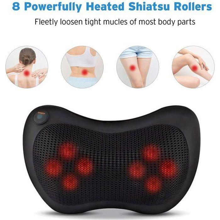 Coussin Massage Chauffant Massant bien etre shiatsu avec Infrarouge pétrissage dos cou corp Relax appareil de massage VINTEKY®