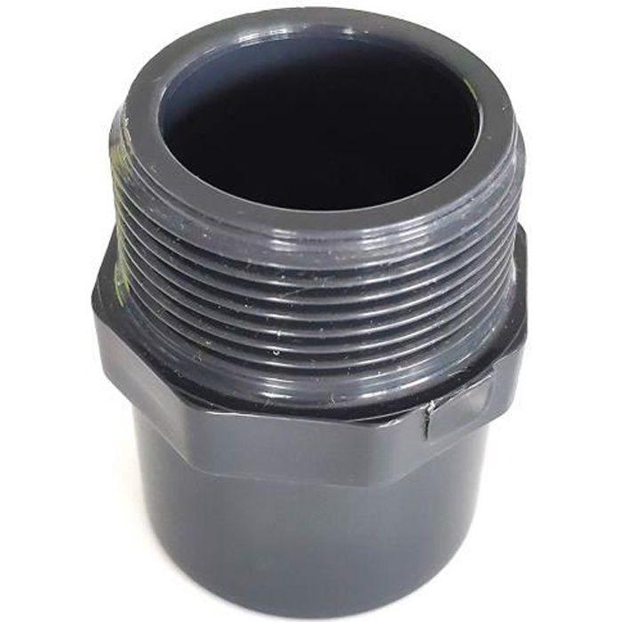 Embout fileté ø 40 mm intérieur ou ø 50 mm extérieur vers Filetage 1-1/2 PVC PRESSION PISCINE