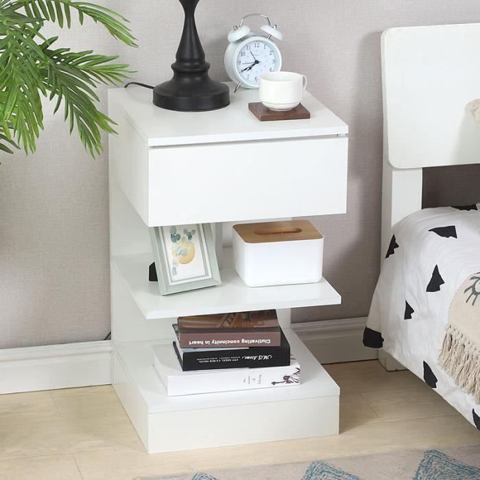 Table de chevet-tiroir simple-lot de un -étagère simple-Avec toboggan-blanc-65 * 39 * 39cm®HOMBUY