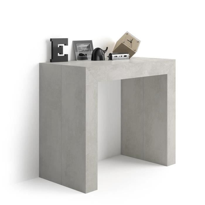 Mobili Fiver, Table Console extensible Angelica, Béton, Mélaminé/Aluminium, Made in Italy