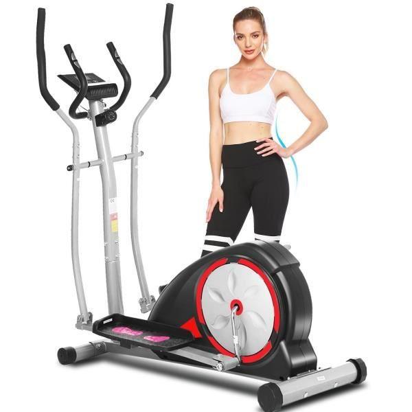 Vélo d'appartement entraîneur elliptique muet de contrôle magnétique de 8 niveaux avec volant moteur 6 kg LCD charge 120kg Noir