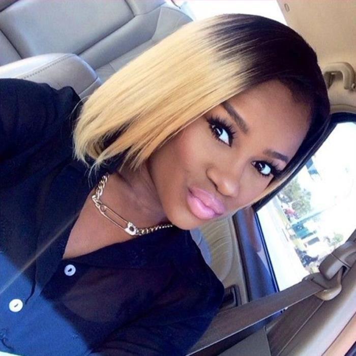 GROSSES SOLDES! Noir - Blonde Ombre Perruques Synthétiques Cheveux Front Lace Perruques Bob Blonde Courte Pour Les Femmes Noires