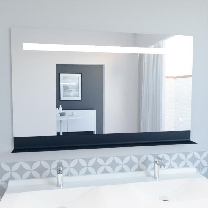 Miroir ETAL 120x80 cm - éclairage intégré à LED, interrupteur sensitif et tablette de rangement
