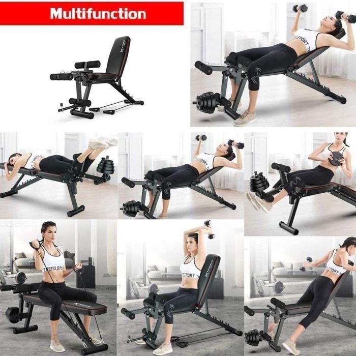 Banc haltère- Multi-Fonction Fitness Banc- Banc d'entraînement réglable- Poids avec Banc Extension Jambe Leg Curl- équipments f[469]