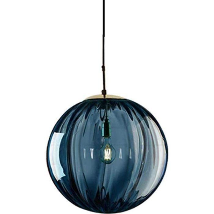 LUSTRE - SUSPENSION LFsem Plafonnier Simple T&ecircte Coloré &Oslash15cm Globe En Verre Suspension E27 Loft Chambre Res80