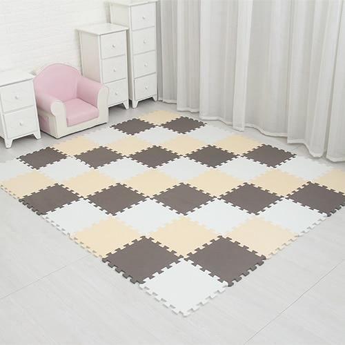 Tapis d'éveil,Tapis de Puzzle de jeu de mousse d'eva de bébé de meiqicool-18 ou 24-lot tapis de - Type white beige brown-18pcs